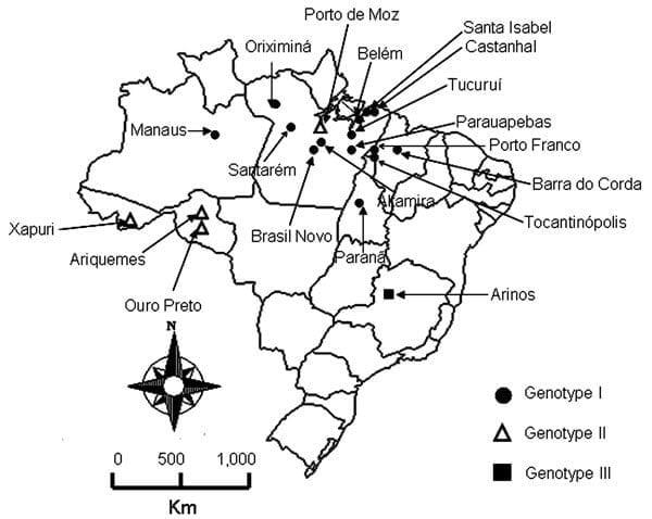 MAPA BRASIL DOS SOROTIPOS DE OROPOUCHE